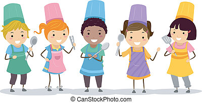 Kiddie Chefs - Illustration of Kids Wearing Toques and ...