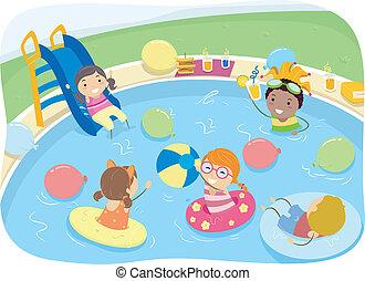 kiddie, partido, piscina