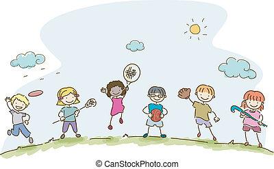 Kiddie Sports - Illustration Featuring Kids Playing ...
