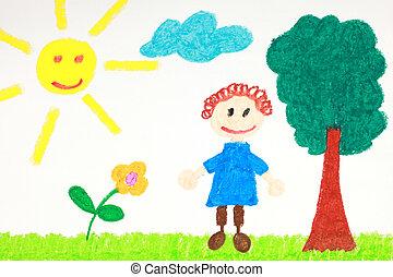 kiddie, style, dessin, de, a, fleur, arbre, et, enfant