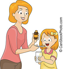 Illustration of a Mother Giving Her Daughter a Spoonful of Vitamins