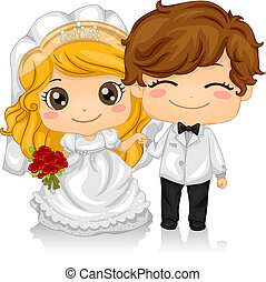 Kiddie Wedding - Illustration of Kids Playing Bride and...