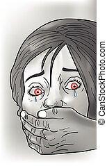 Kidnap victim, illustration - Kidnap victim, female, crying,...