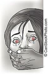 Kidnap victim, illustration - Kidnap victim, female, crying...