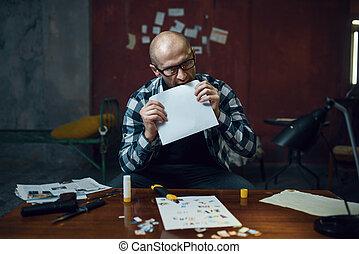 kidnapper, について, 準備する, 犠牲者, マニア, 彼の, 手紙