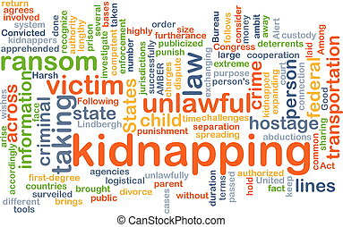Kidnapping background concept - Background concept wordcloud...