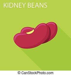 Kidney beans icon, flat style