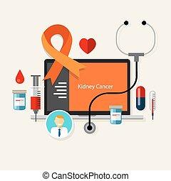 kidney cancer medical orange ribbon treatment health disease
