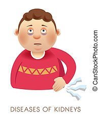 Nephropathy, kidney disease or diabetes, sick boy with bruises under eyes vector. Man with pain in bladder or back, urinary system disorder. Sick child with organ damage, medicine and healthcare