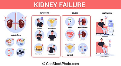 Kidney failure infographic. Symptoms, causes, prevention and...