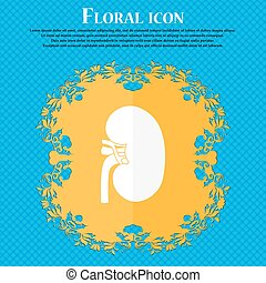 Kidney icon. Floral flat design on a blue abstract background with place for your text. Vector
