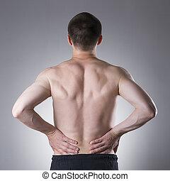 Kidney pain, man with backache, ache in the man's body