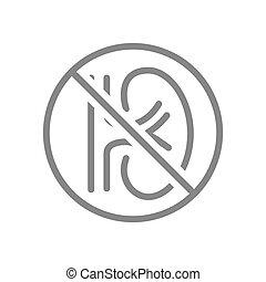 Kidney with prohibition sign line icon. Amputation internal organ, no kidney, transplant rejection symbol