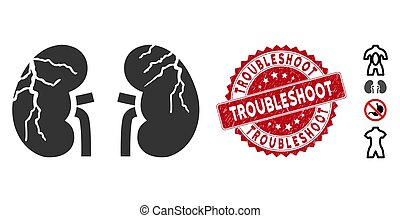 Kidneys Cancer Icon with Textured Troubleshoot Seal