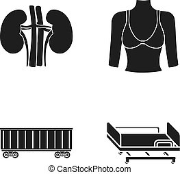 Kidneys, female bust and other web icon in black style. Railway car, medical bed icons in set collection.