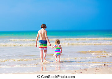 kids, гулять пешком, на, , пляж