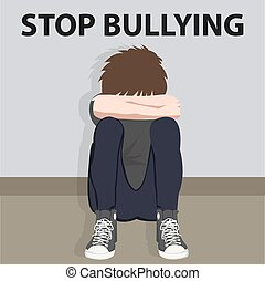 kids, задира, стоп, молодой, иллюстрация, bullying, вектор,...