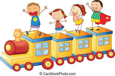 kids, на, поезд