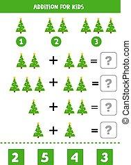 kids., 数学游戏, 圣诞节, 增加, 树。