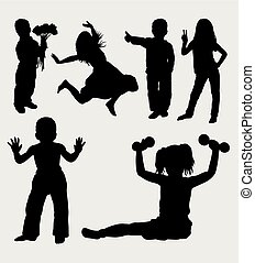 Kids action silhouette