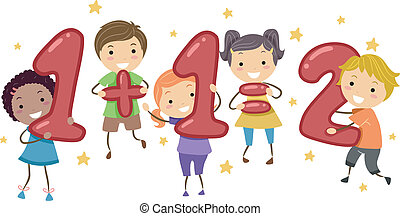 Kids Addition - Illustration of Kids Holding Number-Shaped...