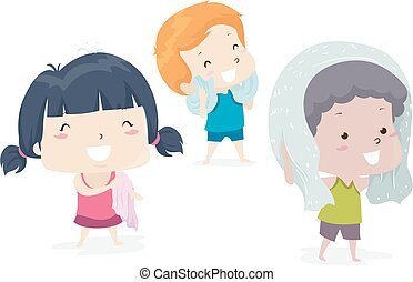 Illustration of Kids Drying Themselves with a Towel. Dry Adjective