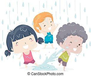 Illustration of Kids Getting Wet Under the Rain. Wet Adjective.