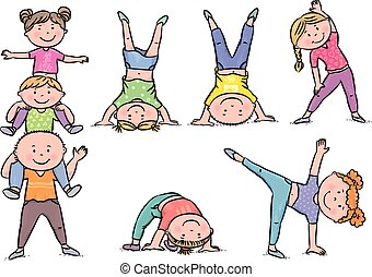 Kids aerobics. Contains transparent objects. EPS10