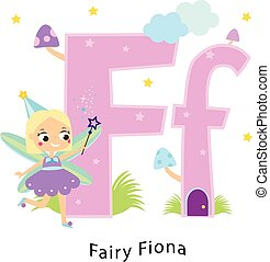 Kids alphabet. English letters with cartoon children characters. F for Fairy Fiona girl in fantasy cute fairy tale costume