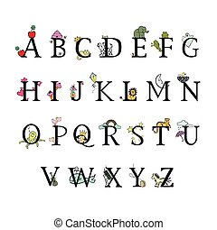 Kids alphabet. Vector Illustration