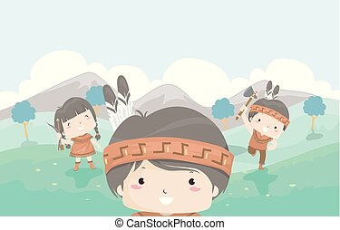Kids American Indian Outdoors Illustration