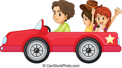 Kids and a car - illustration of a kids and a car on a white...