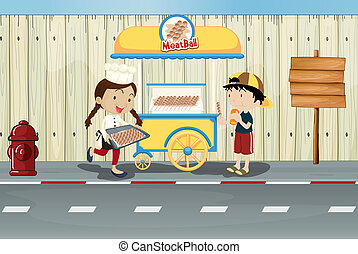 Kids and a meat ball street cart - Illustration of kids and...