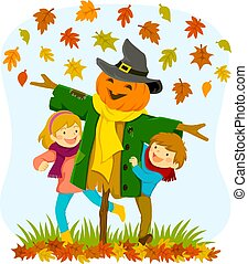 Kids and a scarecrow in autumn