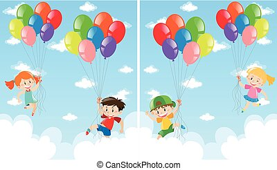 Kids and balloons flying in the sky