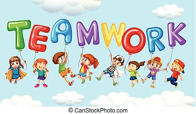 Kids and balloons for word teamwork