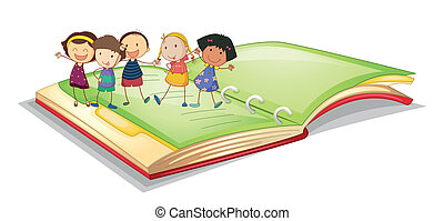 kids and book - illustration of kids and book on a white...