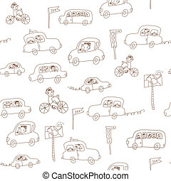Kids and cars seamless funny pattern