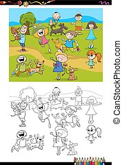 kids and dogs coloring book