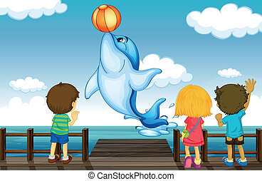 Kids and dolphin - Illustration of kids and dolphin in a...
