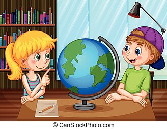 Kids and globe - Boy and girl looking at glove in the...