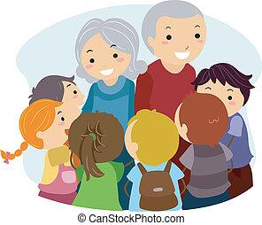 Kids and Grandparents - Illustration of Kids Gathered Around...
