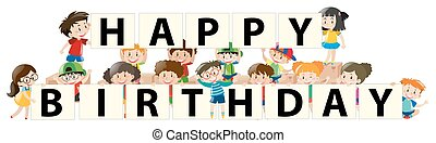 Kids and happy birthday sign
