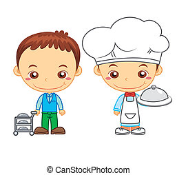 kids and jobs03 - A cook and a restaurant waiter isolated on...