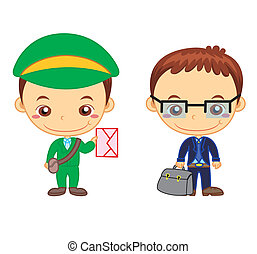 kids and jobs07 - A postman and a salesman isolated on white...
