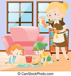 Kids and maid cleaning the house