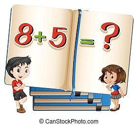 Kids and math problem in book