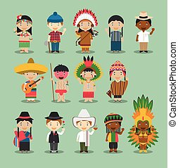 Kids and nationalities of the world vector: America Set 4. Set of 14 characters dressed in different national costumes.