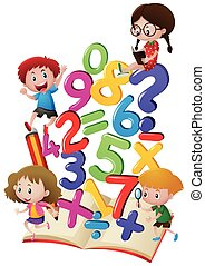 Kids and numbers in the book