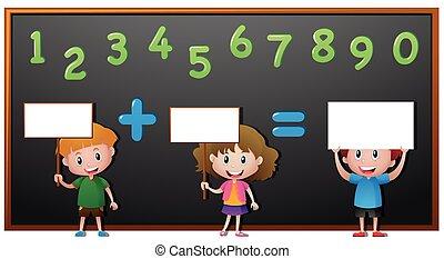 Kids and numbers on blackboard